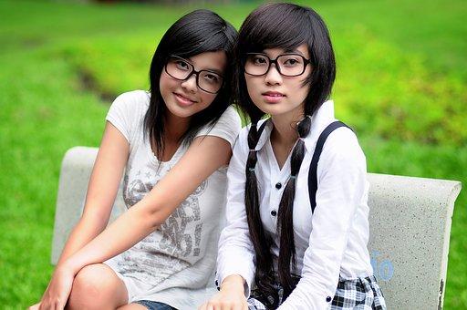 Girl, Student, Asian, Glasses, Friends, Pretty Girl