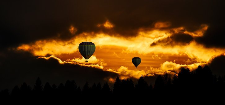 Travel, Fly, Balloon, Sky, Sunset, Mood, Clouds