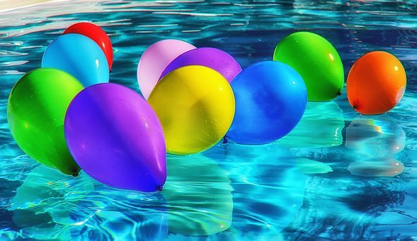 Balloons, Colorful, Ballons, Color, Water, Pool, Drive