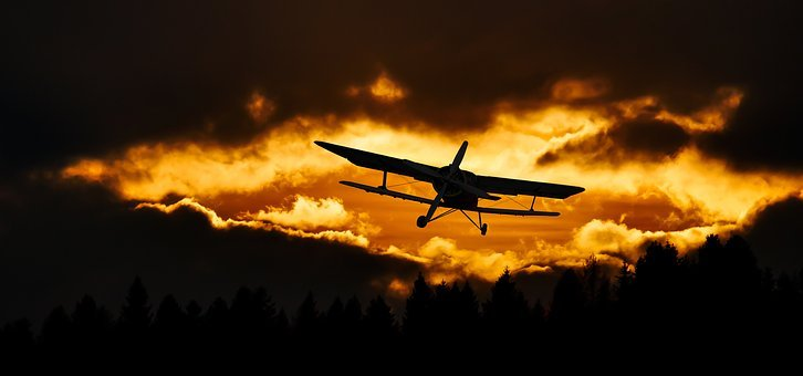 Travel, Fly, Aircraft, Sky, Sunset, Mood, Double Decker