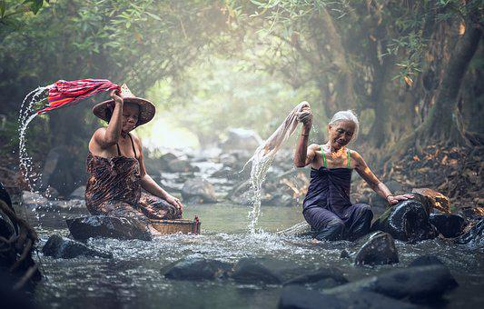 River, Washing, Asia, The Bath, Cambodia, Waterfall
