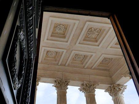 Corinthian, Columns, Capitals, Ceiling, Door