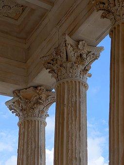 Corinthian, Columns, Capitals, Maison Caree, Nimes