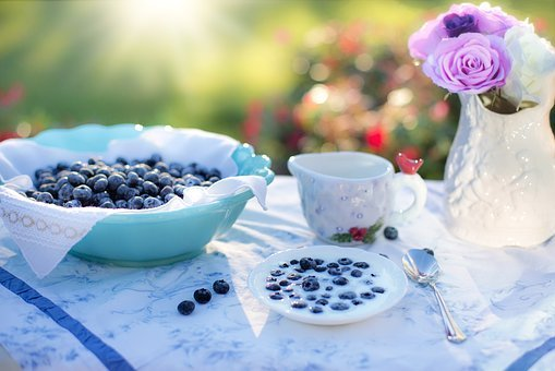 Blueberries, Cream, Dessert, Breakfast, Blueberry, Food