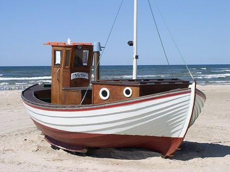 Fishing Boat, Denmark, Beach, Sea, North Sea, Løkken