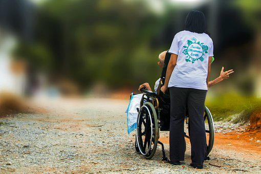 Hospice, Pushing Wheel Chair, Disabled, Elderly