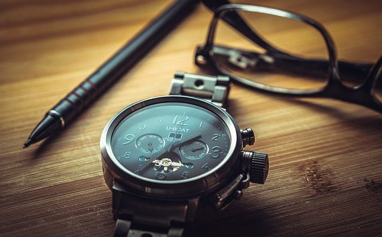 Clock, Glasses, Pen, Desk, Wooden, Table, Close
