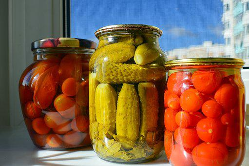 Pickles, Billet, Cucumbers, Canned Tomatoes, Glass Jars