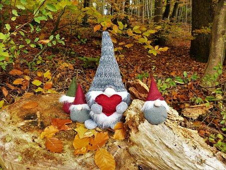Dwarfs, Gnome, Forest, Autumn, Imp, Heart, Colorful