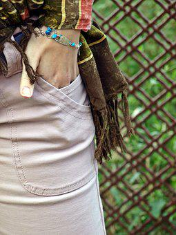Woman, Pants, Pocket, Hand, Jewelry, Scarf, Bracelet