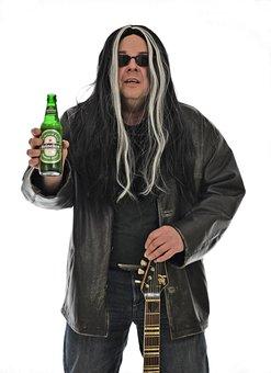 Rock Star, Rock, Guitarist, Beer, Heineken, Rocker