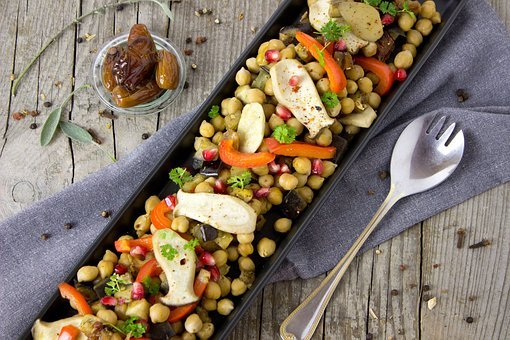 Chickpeas, Dates, Mushrooms, Vegan, Vegetarian, Salad