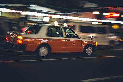 Fast, Taxi, Cab, Kyoto, Japan, Moving, Motion, Speeding