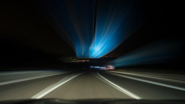 Road, Night, Stelae, Lights, Vehicle, Speed