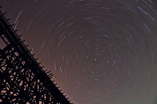 Stars, Bridge, Night, Star Trails, Trails, Timelapse
