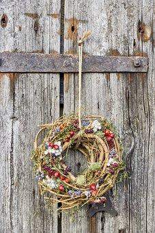 Autumn, Old, Wreath, Flowers, Dry Bouquet