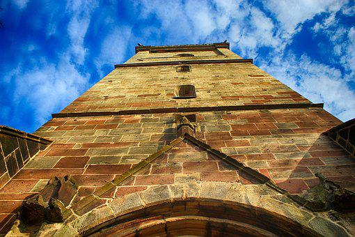 Church, Tower, Sand Stone, Bell Tower, Sky, Blue