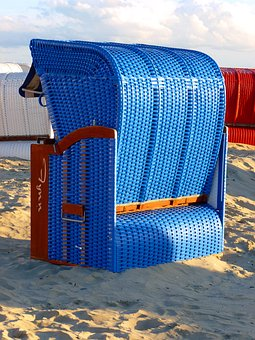 Beach Chair, Beach, Sand, North Sea, Holiday, Blue