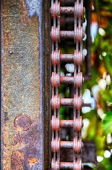 Chain, Drive, Gate, Sawmill, Stainless, Old, Rusted