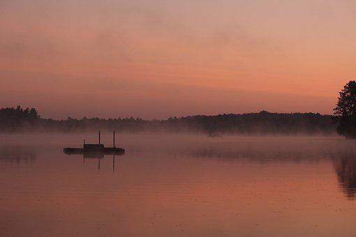 Sunrise, Water, Fog, Mist, Rolling, Dock, Cottage