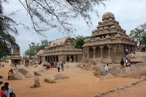 Mahabalipuram, Five Rathas Site, Stone Works, Tn
