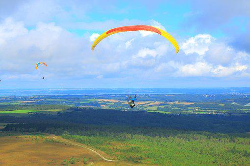 Parachute, Hang Gliding, Fly, Paragliding, Sky, Hobby