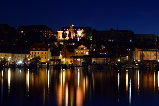 Night Photograph, Port, City, Sea, Illuminated