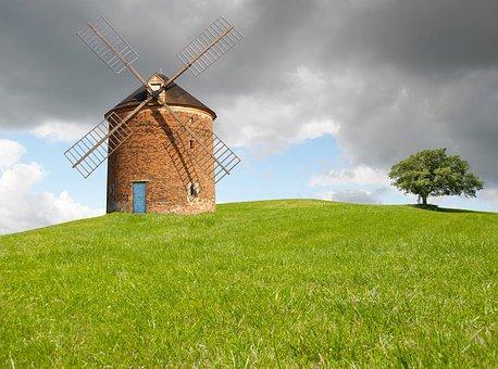 Windmill, Mill, Sky, Building, Wing, Mediterranean