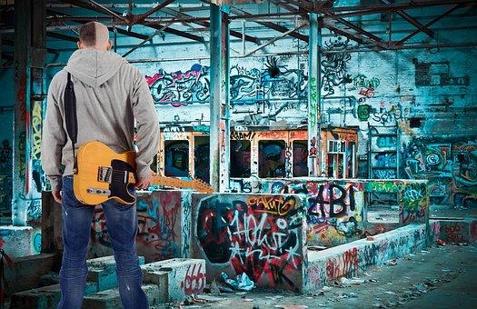 Young, Man, Boy, Guitar, Musician, Graffiti, Lonely
