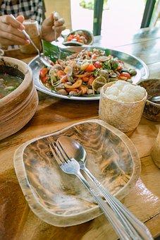 Papaya Salad, Thailand Food, Isaan Food, Dining Table