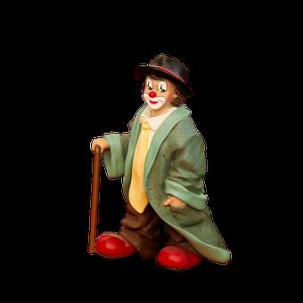 Figure, Clown, Porcelain, Walking Stick, Cheerful