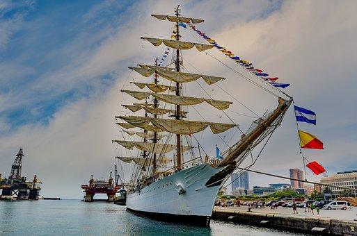 Sailing Vessel, Frigate, Windjammer, Sailor, Port