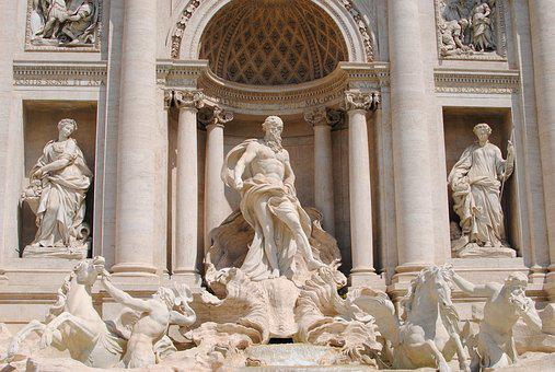 Fountain, Trevi, Italy, Rome, Travel, Water, Sculpture