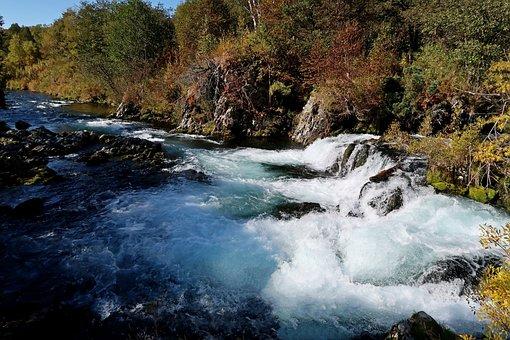 Autumn, River, Waterfall, Threshold, Cascade, Forest