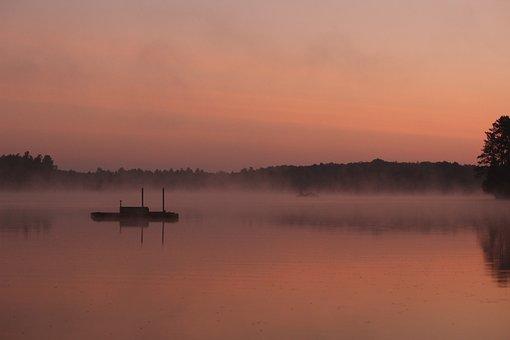 Sunrise, Water, Fog, Mist, Rolling, Dock, Cottage