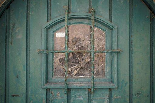 Window, Door, Green, Broken, Grid
