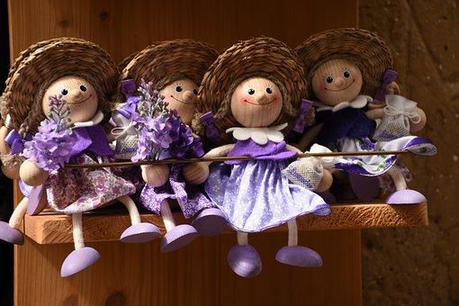Dolls, Wood, Straw Hat, Toys