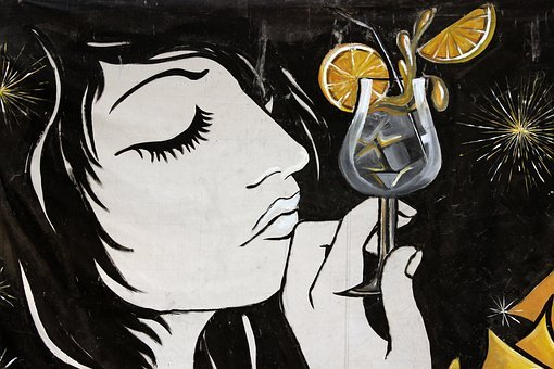 Graffiti, Drink, Girl, Woman, Cocktail, Alcohol, Plan