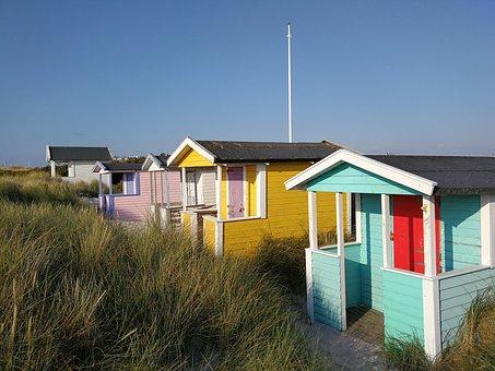 Badehytter, Beach, Siv, Turquoise, Yellow, Flagpole