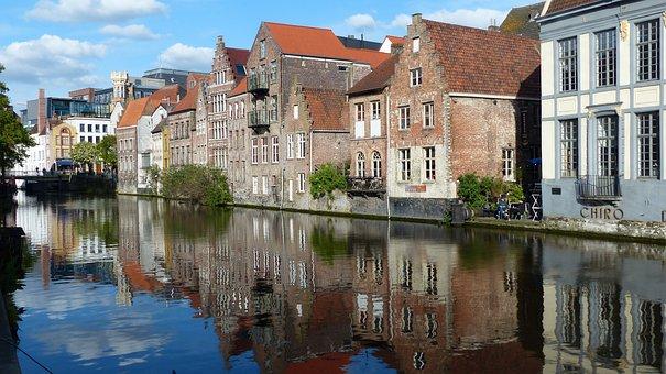 Ghent, Flanders, Belgium, Channel, Architecture