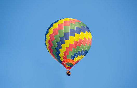 Hot Air Balloon, Colorful, Blue Sky, Cumulus, Air, Hot
