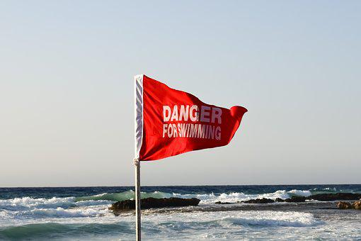 Red Flag, Warning, Danger, Rough Sea, Caution, Beach