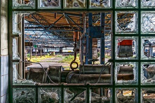 Lost Places, Window, Glass, Glass Blocks, Brick