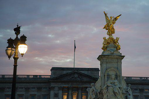 Statue, Gold, London, Buckingham Palace, Sunset, Pink
