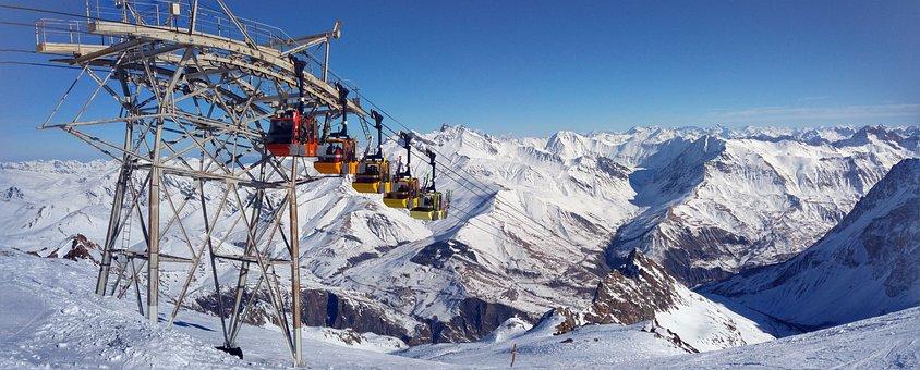 Gondola, Mountain, Summit, Glacier, Snow, Cable Car