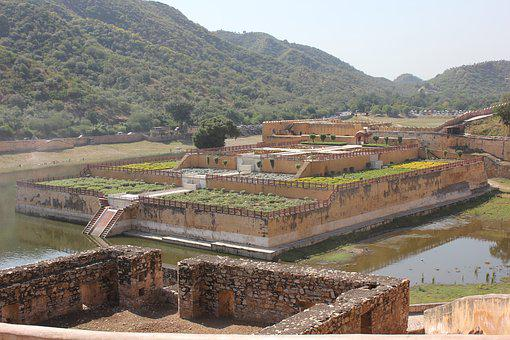 India, Garden, Old, Palace, Moat