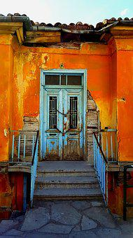 Door, House, Castle, Chain, Color, Orange, Blue, Stairs
