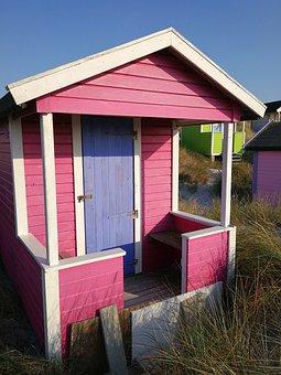 Badehytter, Beach, Siv, Pink, Purple, Late Summer