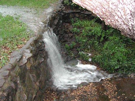 Waterfall, Rain, Water, Nature, Landscape, Green, Park