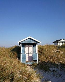 Badehytter, Beach, Siv, Sand, Late Summer